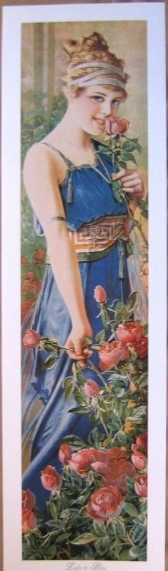 art print~LADY IN BLUE~Victorian Tall Lady Grecian vtg repro roses yardlong  #Vintage