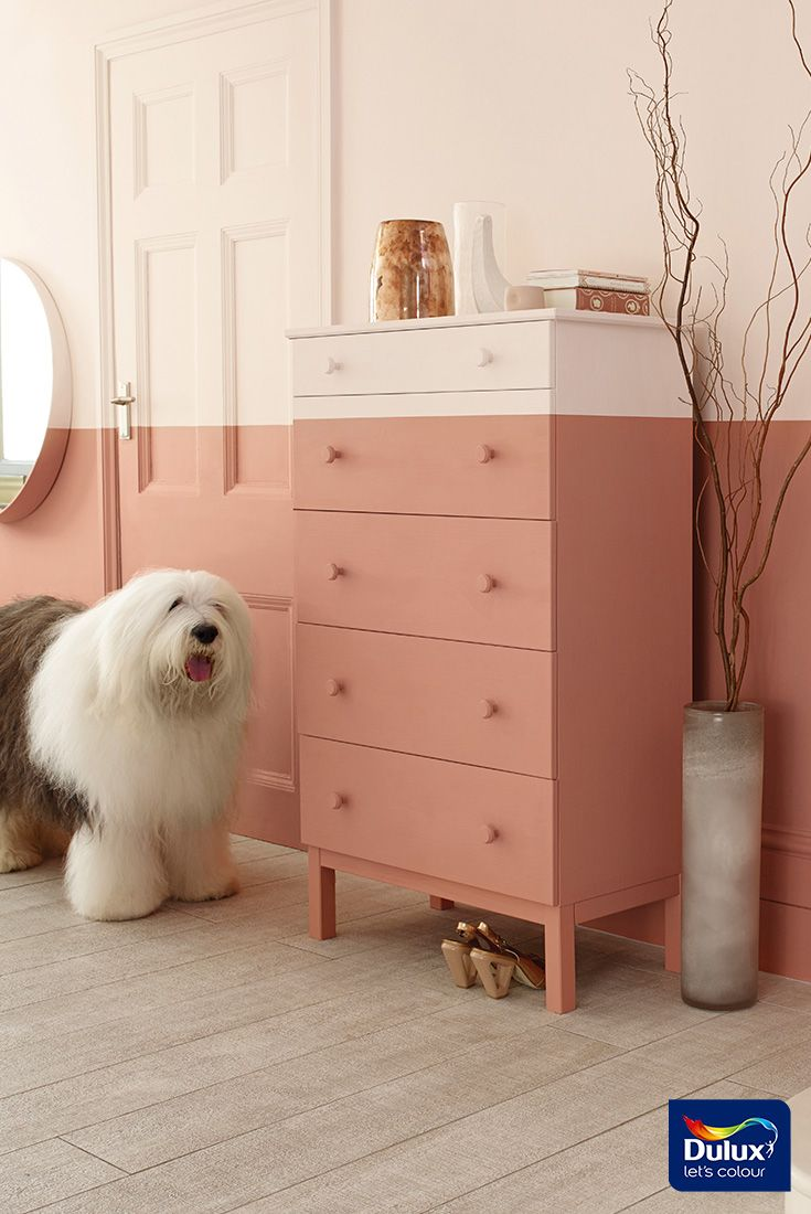 A good idea for adding personality to a room is with a two-tone wall. Using the lighter colour on the top will give a spall space an airy feel.