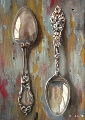 JEANNE ILLENYE - Still Lifes: sterling silver spoons oil painting blue peeling paint rustic wood table 7x5 in.: