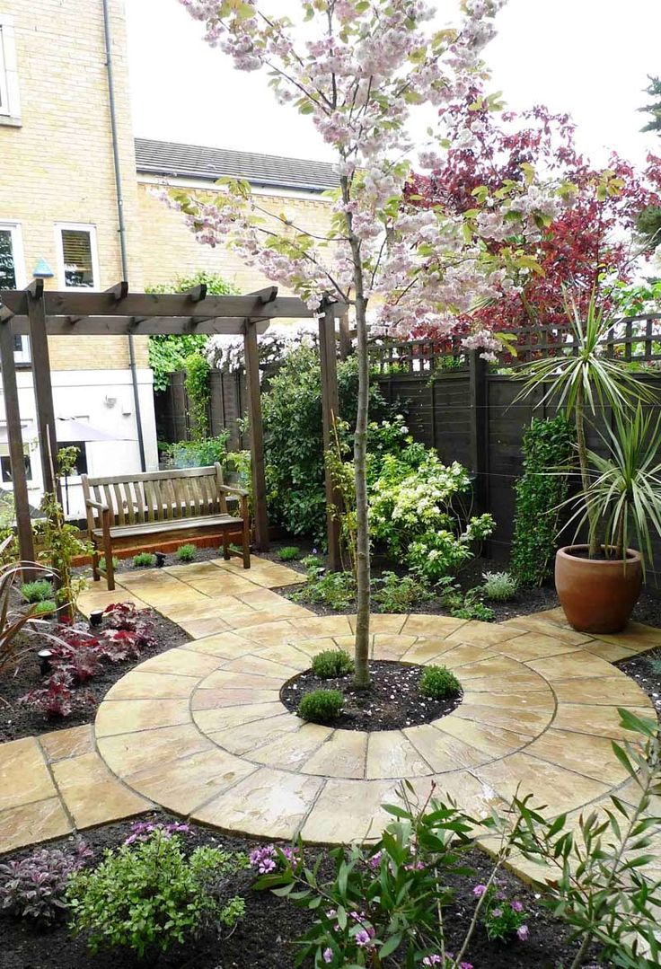 Circular stone path tree as centre focal point garden - Beautiful small front gardens ...