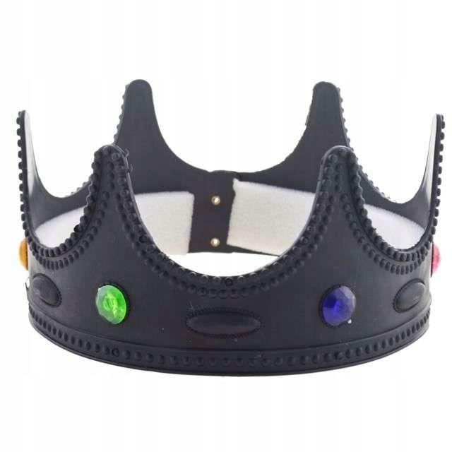 Czarna Korona Party Plastikowa Mroczny Krol Diabel Flats Shoes Mary Janes