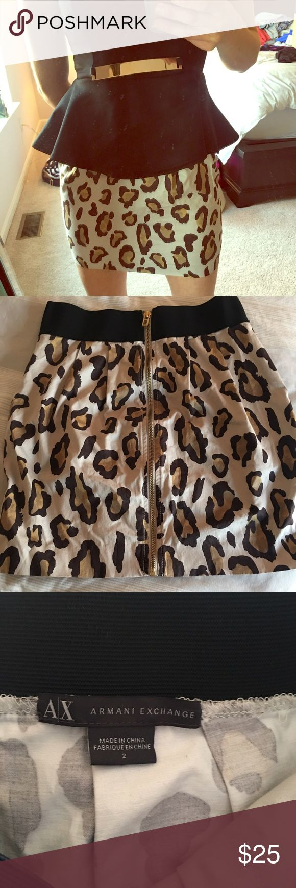 AX cheetah skirt with gold zipper down back AX cheetah skirt with gold zipper down back. Great condition. Worn once A/X Armani Exchange Skirts Mini