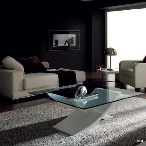 Mesa de centro en cristal con pie vanguardista