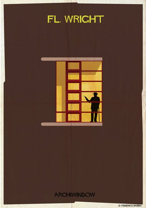 The silhouettes of architects are each depicted within a window from one of…