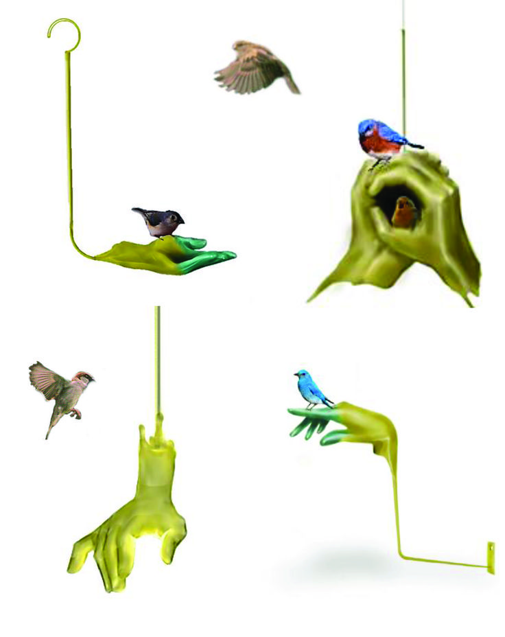 """Menzione d'onore (categoria studenti): Karen Ruz Sanchez. Progetto: """"Riparo per uccelli"""".  Il design guarda all'arte con la proposta di ripari - da realizzarsi in fusione di ottone - per uccelli da posizionare nei giardini domestici o urbani. La suggestione progettuale ha origine nel gesto stesso di tendere la mano per offrire un seme ai piccoli volatili."""
