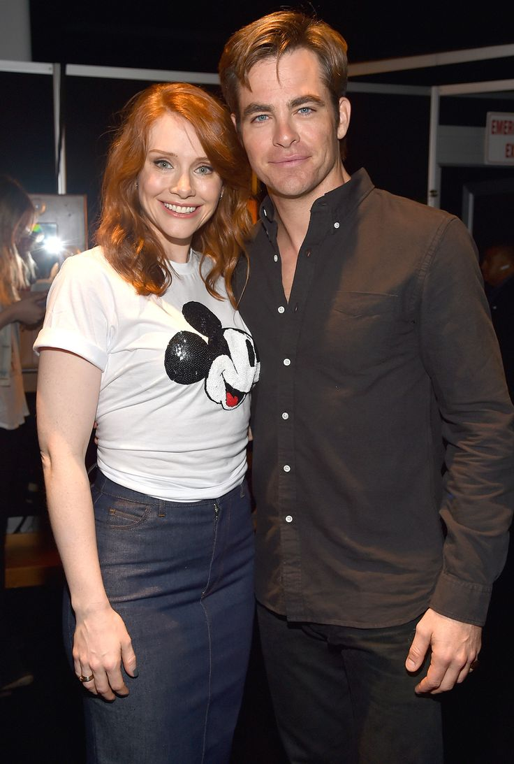 Bryce Dallas Howard, on hand to promote her remake ofPete's Dragon, joined Chris Pine - Celebs at Disneyland - Disney Celebrities