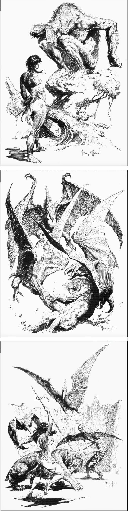 FRANK FRAZETTA - At the Earths Core - Creatures II - B/W Sketches