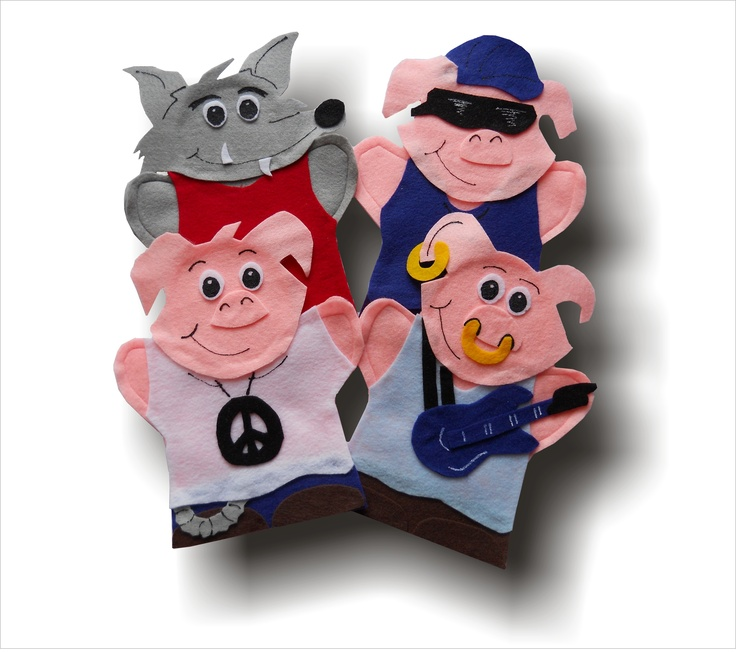 Aim Language Learning http://lisapuppetmaker.com Click on the link beside to go to the website to purchase these hand puppets. They are used to teach kids French. This set is called Les trois petits cochons Puppets . maybe your children have seen these before.