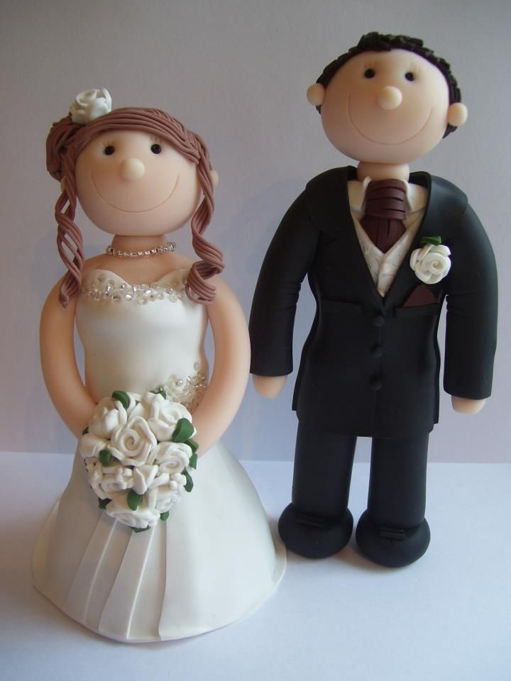 Fully personalised Wedding cake toppers, handcrafted from polymer clay