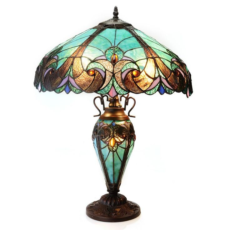 Tiffany Style 24 5 Quot Halston Double Lit Stained Glass Table