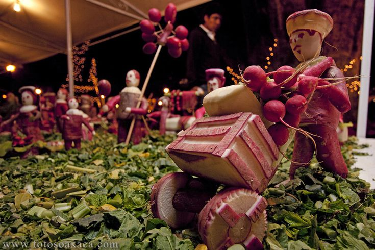 Noche de Rabanos, Night of the Radishes, began as a event in colonial times to tout the radish harvest. Every year on December 23, Oaxaca's main square, is filled with elaborate dioramas depicting religious and historic events. Figures and animals are carved from radishes and decorated with dried flowers and corn husks.