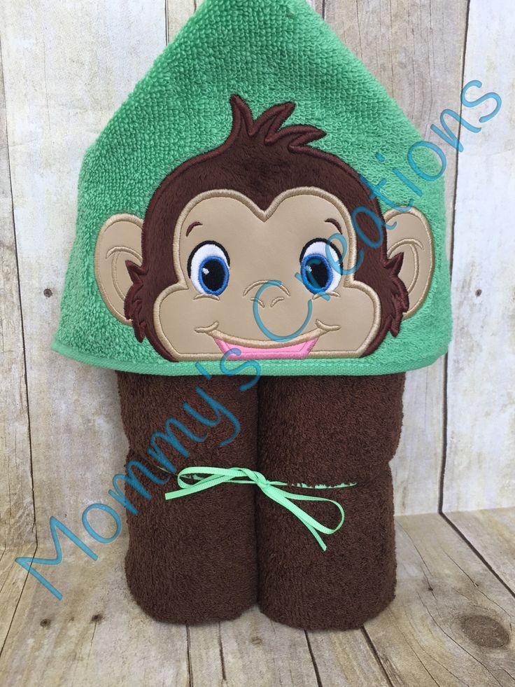 """Boy Monkey Applique Hooded Bath, Beach Towel 30"""" x 54"""" by MommysCraftCreations on Etsy"""