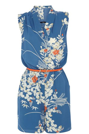 Oasis- We're giving a nod to the orient this season and this soft playsuit features one of our favourite prints across the fabric. The piece features a cowl wrap neckline.