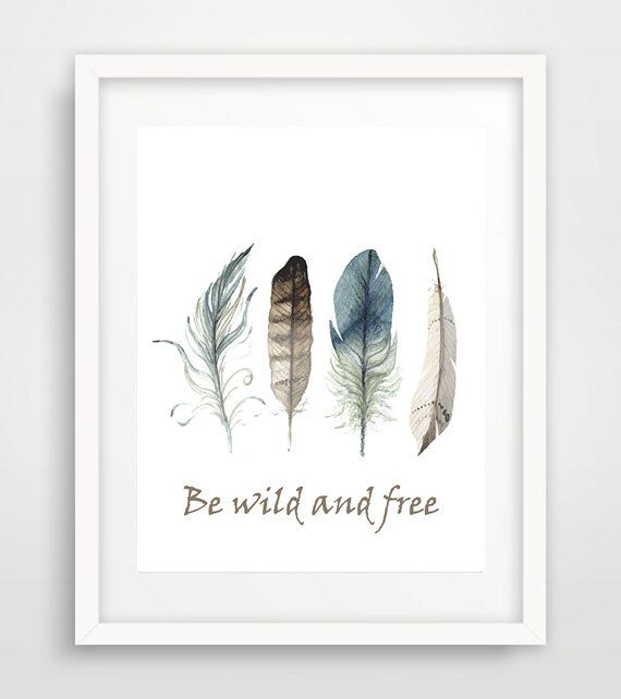 Watercolor feathers jungalow style feather print by Ikonolexi