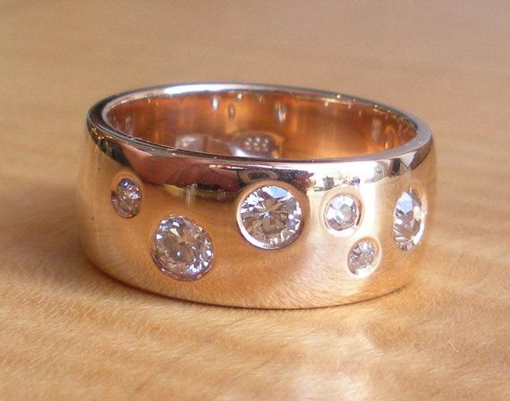 Wide Rose Gold European Cut and Old Mine Cut Diamond Wedding Band - Engagement Ring on Etsy, $1,998.00