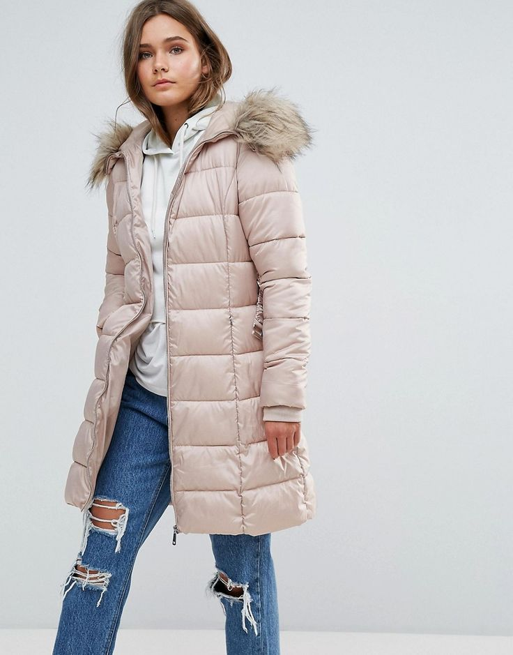 NEW LOOK PADDED COAT WITH EXTREME FAUX FUR HOOD - BEIGE. #newlook #cloth #