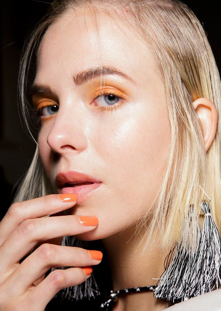 Browse the best nail art ideas from fashion month Spring 2017 at @StyleCaster | Blugirl's solid orange nails