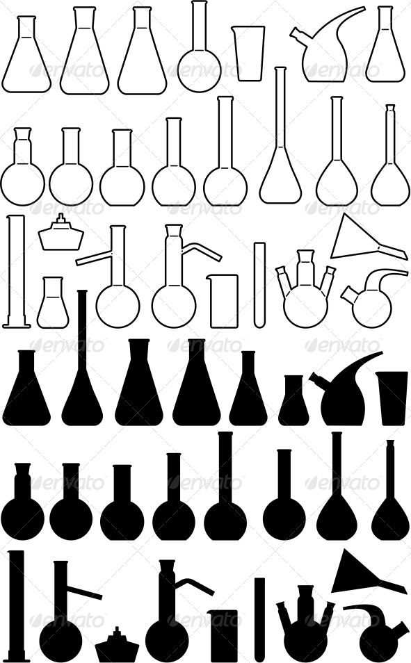 High Cognitive Effort. It seems as though these all represent different glassware that is used in a lab, but without labels or instruction it would be difficult to know which ones to use for each task.