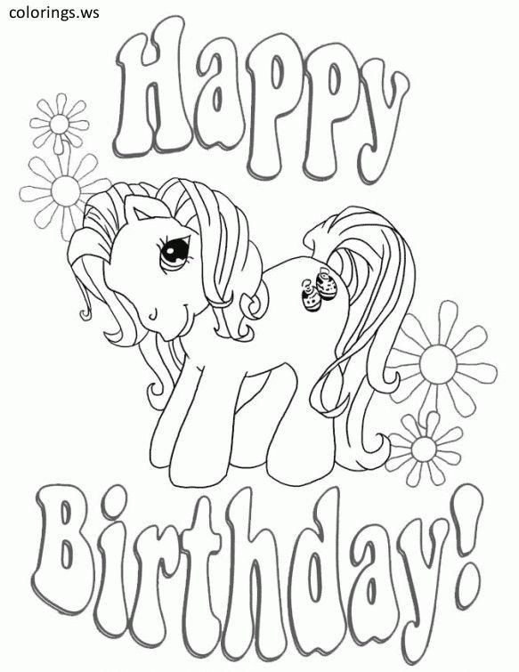 Birthday Coloring Pages Free My Little Pony Happy Birthday Coloring Template Happ In 2020 Happy Birthday Coloring Pages Coloring Birthday Cards My Little Pony Coloring