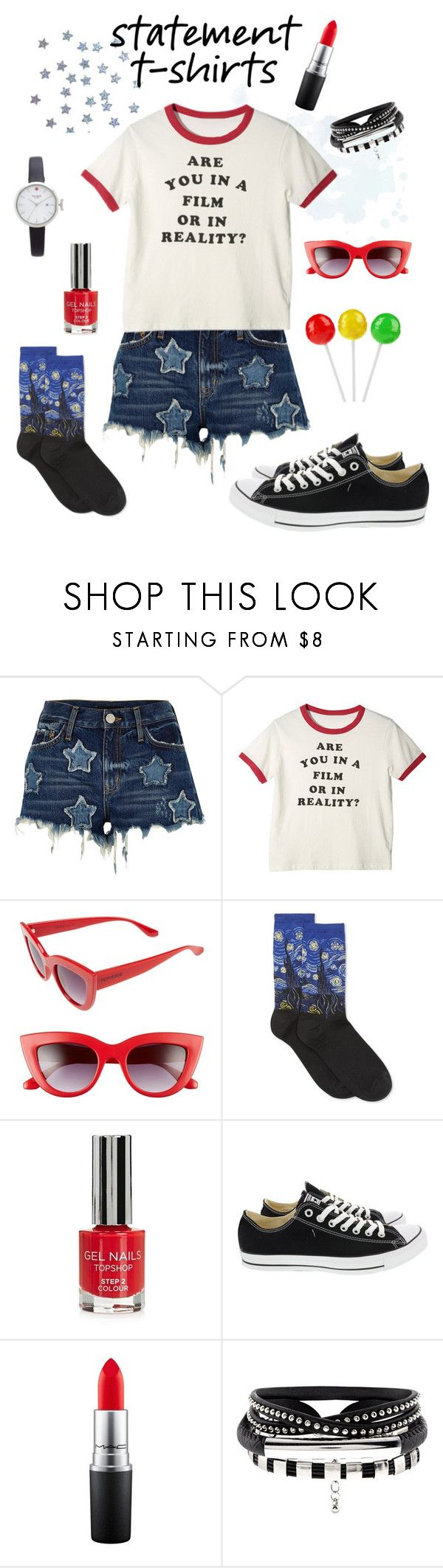 """""""Are you in a film or in reality?"""" by grandduchessalaina ❤ liked on Polyvore featuring River Island, Perverse, HOT SOX, Topshop, Converse, Kate Spade, tshirts, sneakers, graphictees and jorts"""