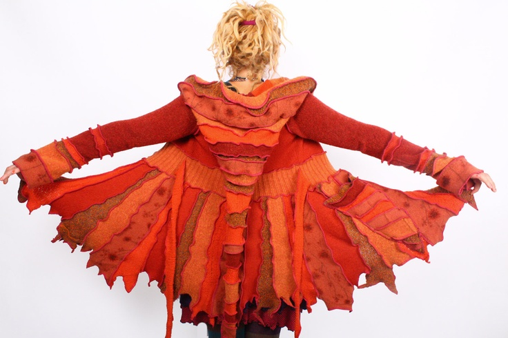 katwise: #orange reconstructed sweater coat #handmade: Orange Color, Wedding Color, Katwi Inspiration, Reconstruction Sweaters, Pixie Sweaters, Sweaters Coats, Recycled Sweaters, Color Theme, Katwi Fairies