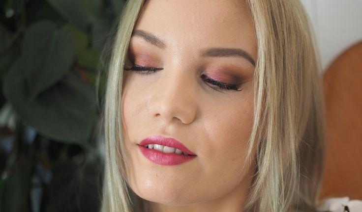 Burgundy & pink makeup