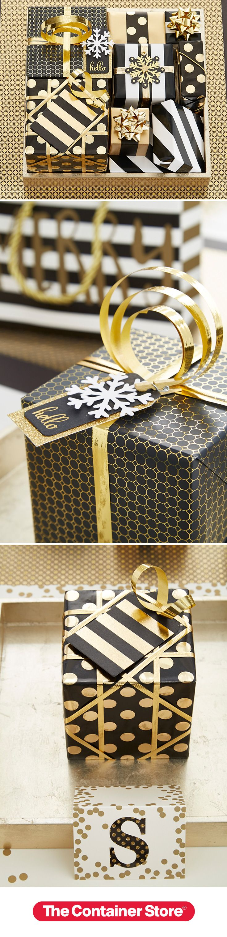 Glam it up this Christmas with our elegant black, white and gold wraps, ribbons and bows! For a unique look, make our Vertical Curl Bow using our metallic gold ribbon!