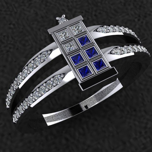 Tardis Engagement Ring!  Although I'd make the tardis all sapphires.  http://geektyrant.com/news/elegant-doctor-who-tardis-ring