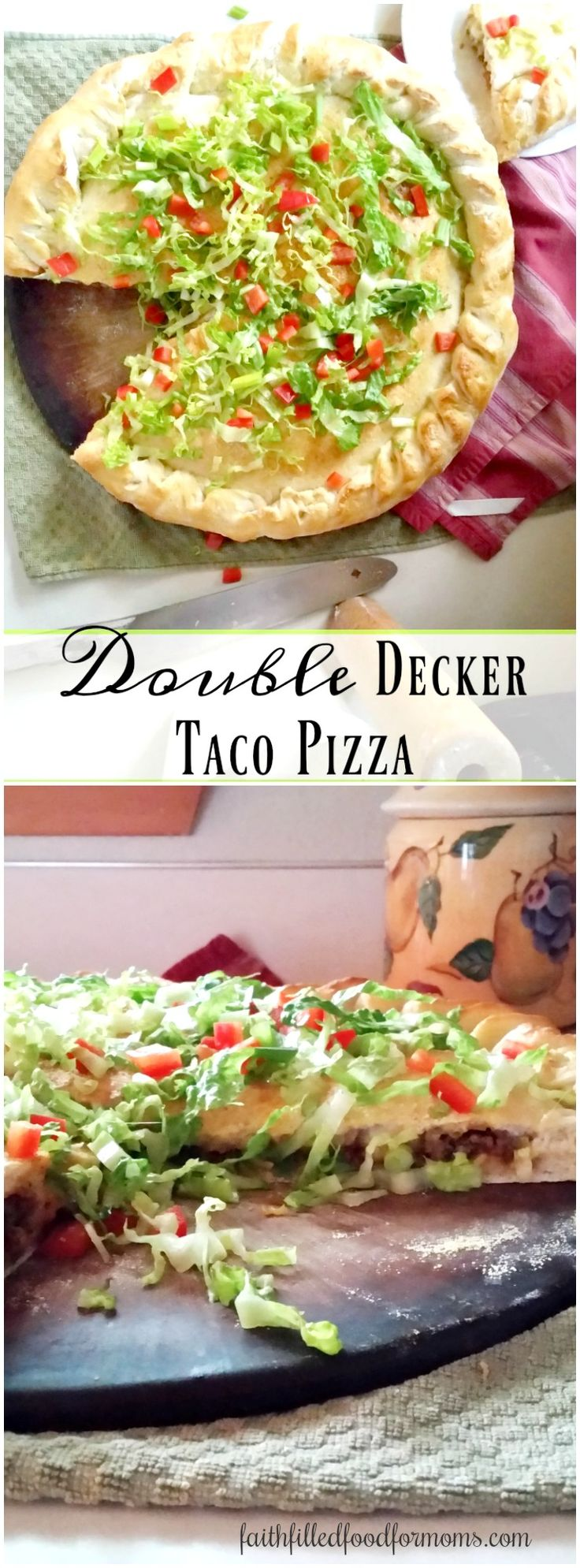 If you love tacos and you love pizza, this homemade Double Decker Taco Pizza will be a family favorite! Step up your pizza game with these super easy homemade pizza dough recipe! #pizza #pizzadough #homemade
