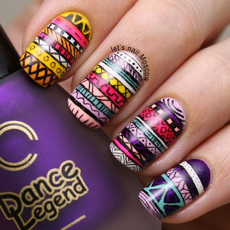 38 best african touch nails images on pinterest africans tribal aztec nail art nails by lets nail moscow prinsesfo Images