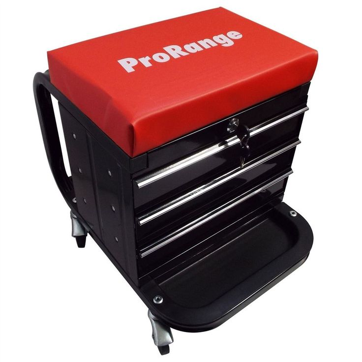 Mechanics Seat With 3 Drawer Locking Tool Box Workshop Chest Trolley Red Seat