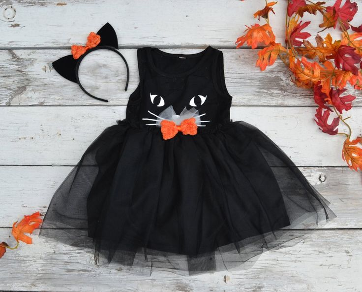 Black Cat Tutu Dress Halloween Costume Kitty Ears Headband Tulle Girls 2t 3t 4t 5 6