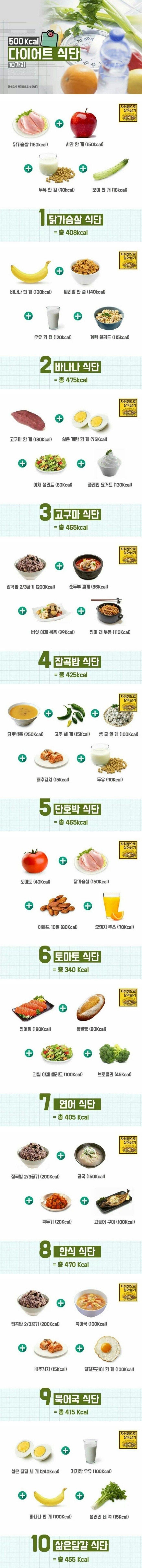 500 칼로리 다이어트 식단 10가지