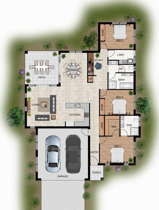 2d Colour Floor Plan For A Home Building Company Innisfail Qld Craftsman House Plans House Plans Floor Plans