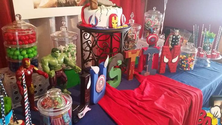 Avengers birthday party table! See more party ideas at CatchMyParty.com!