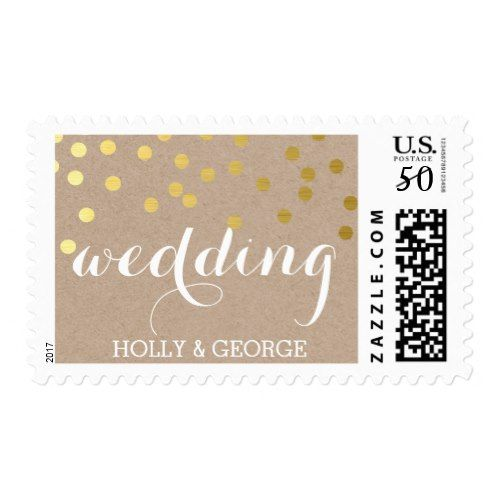WEDDING modern gold confetti kraft script type Postage