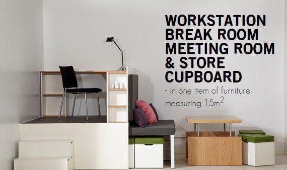 En 15m2 un puesto de trabajo, una sala de descanso, una sala de reuniones y una despensa http://matroshkafurniture.com/business/index.html