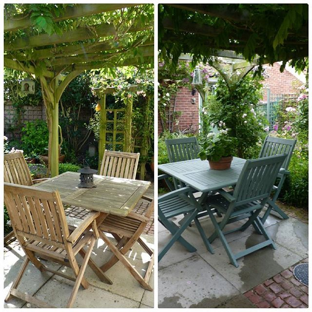 A few people have asked to see before and after pics of my table and chairs. I used Cuprinol garden shades in Wild Thyme. #cuprinolgardenshades