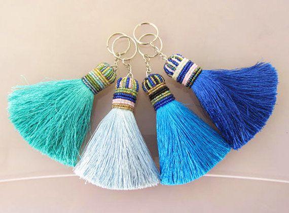 Ocean Tones Silk Tassel Keychain Beaded Keychain by midgetgems,