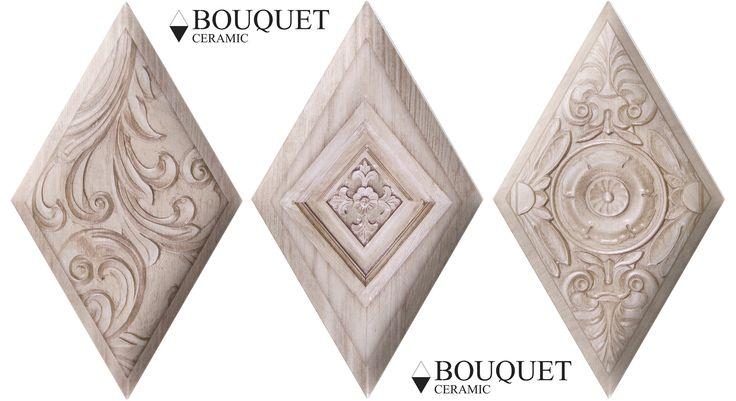 Ceramic reliefs inspired by the woods of northern countries whit decors. Relieves ceramicos inspirados en maderas propias de paises frios con decorados.