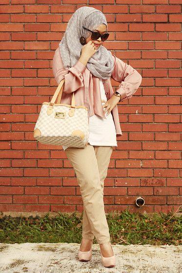 Zawara Satin Blouse, Louis Vuitton Bag, Zara Trousers, Kiss&Tell Platform Heels, Pretty Chase Scarf