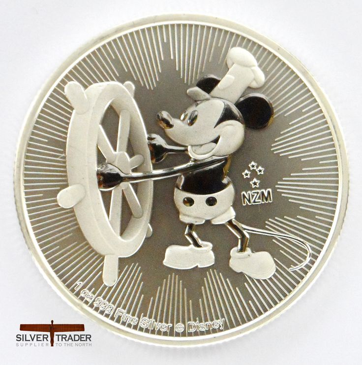 2017 New Zealand Steamboat Willie 1 ounce Silver Bullion Coin, Featuring the iconic Disney character Mickey mouse from the steamship Willie cartoon.