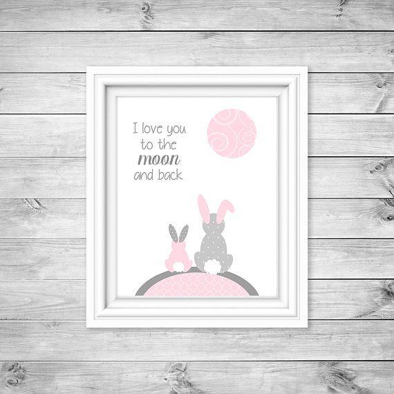 Bunny Nursery Decor Grey And Pink Baby