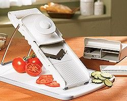 My Pampered Chef Mandoline makes slicing veggies super easy!! I have the older version