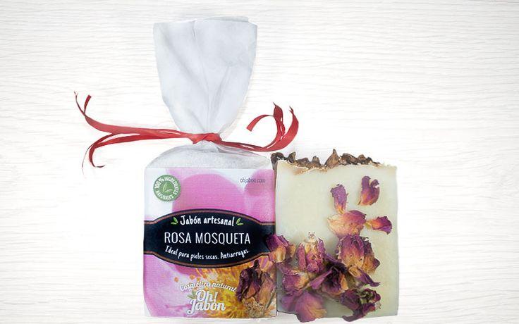 Jabón artesanal de rosa mosqueta. Ideal para pieles secas. Antiarrugas.