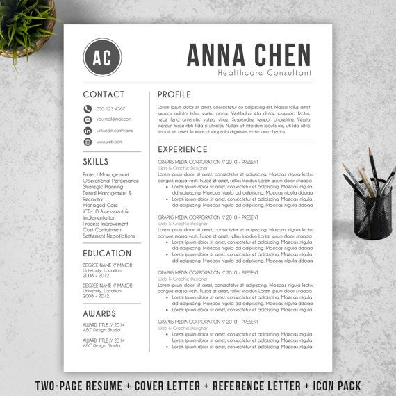 Resume Template CV Template + Cover Letter for MS Word - resume template download mac