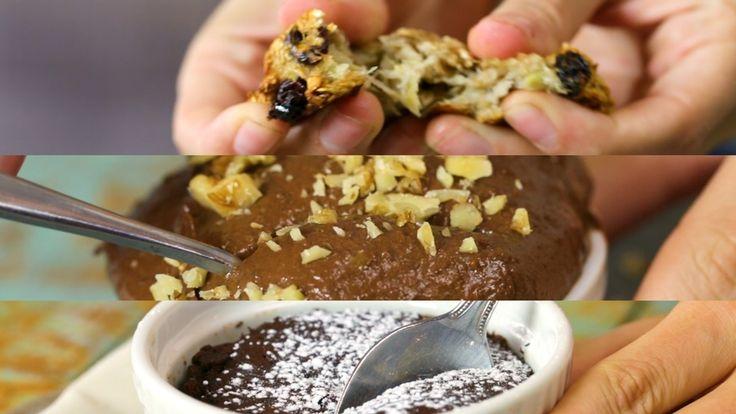 Receta con instrucciones en video: Con tan sólo 3 ingredientes puedes innovar en tu cocina con opciones saludables Ingredientes: 2 bananas maduras, 1 puñado de pasas de uva, 1 taza de avena instantánea