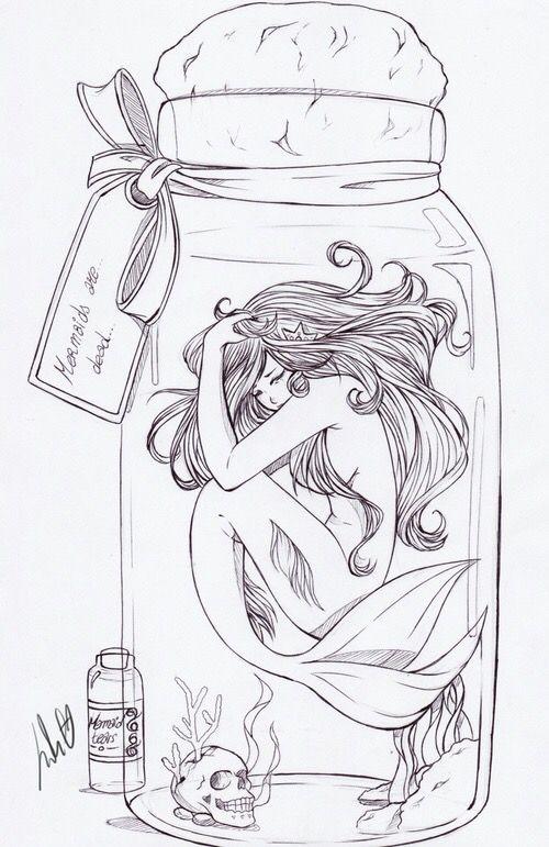 mermaid in a jar things to draw pinterest mermaid jar and drawings