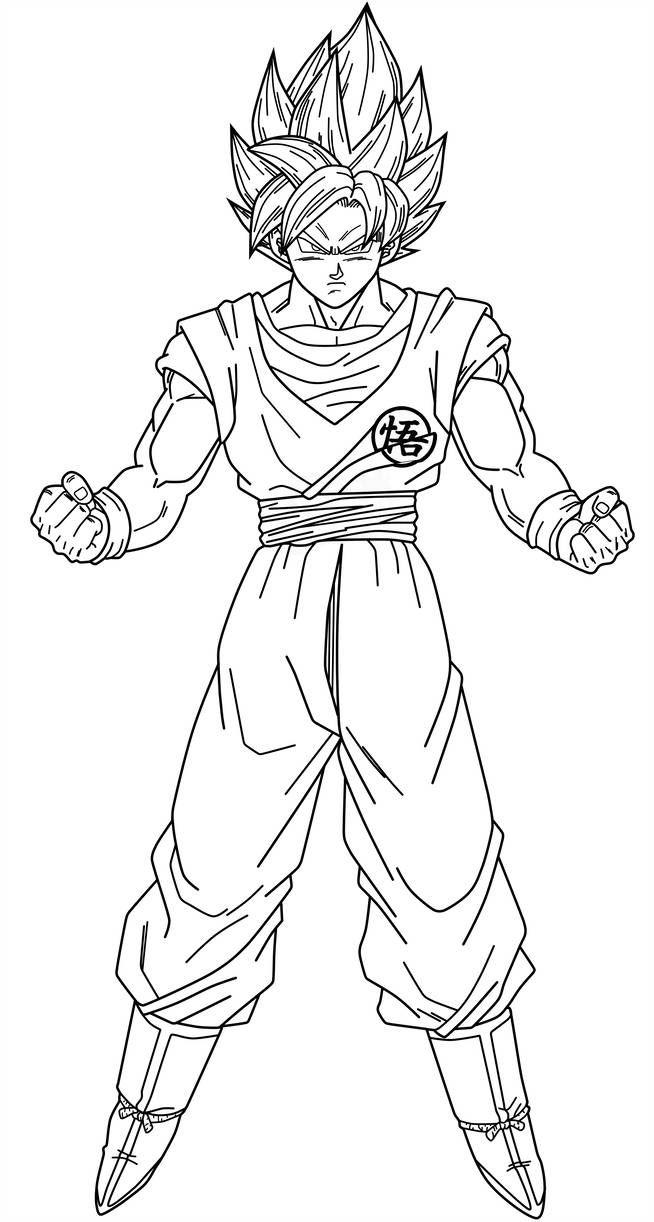 Goku Ssj Blue Lineart By Saodvd Goku Desenho Desenhos Dragonball