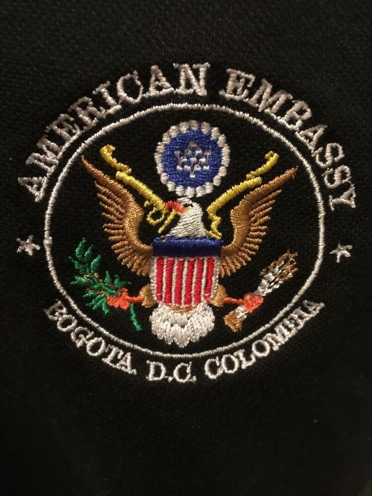 American Embassy Bogota D.C. Colombia Embroidered Polo Shirt - EXTRA LARGE